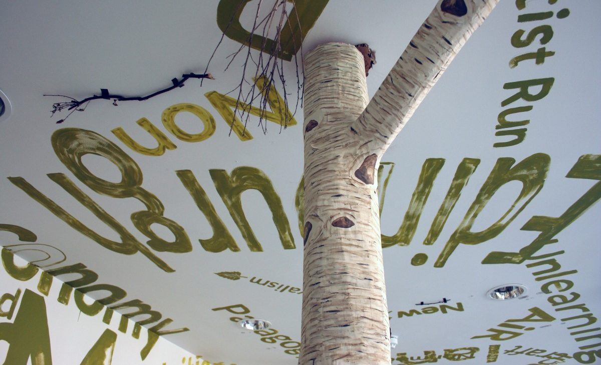 Close up of paper mache silver birch tree trunk and branch connecting to ceiling, surrounded by branches and alternate sizes of text painted in green on the white walls and ceiling, excerpts include: Edinburgh, artist run, non, Unlearning, AiR, Initiatives, craft