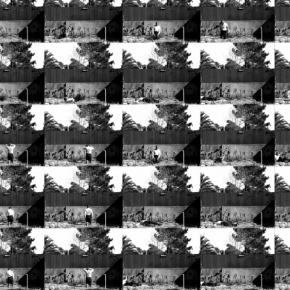 Black and white video still of a performance where the artist falls to the ground several times, with repeated mosaics displaying the falls sequenced differently